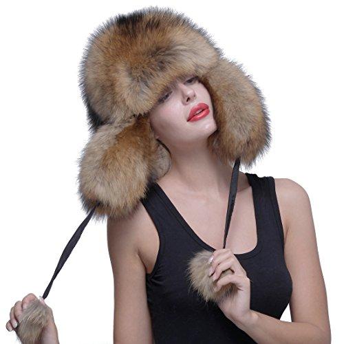 URSFUR Genuine Raccoon Fur Russian Ushanka Trapper Hat Cap with Fur Ball Pompom by URSFUR