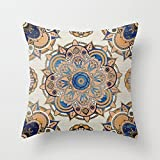 Decorative Square Pillow Case Cushion Cover 24X24 Inches Blue and Gold Mandala