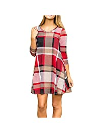 Women Causal Round Neck Plaid 3/4 Sleeve Swing Tunic Dress with Pockets