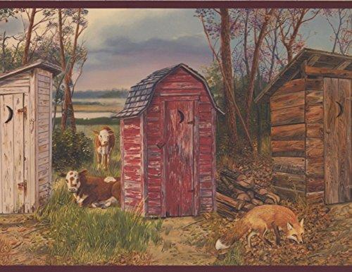 (Red Brown Beige Grey Village Restrooms Cows Ducks Fox Wallpaper Border Retro Design, Roll 15' x 9