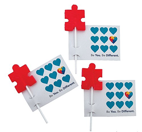 - Autism Awareness Suckers with Cards (24 Pack) Cherry flavor.