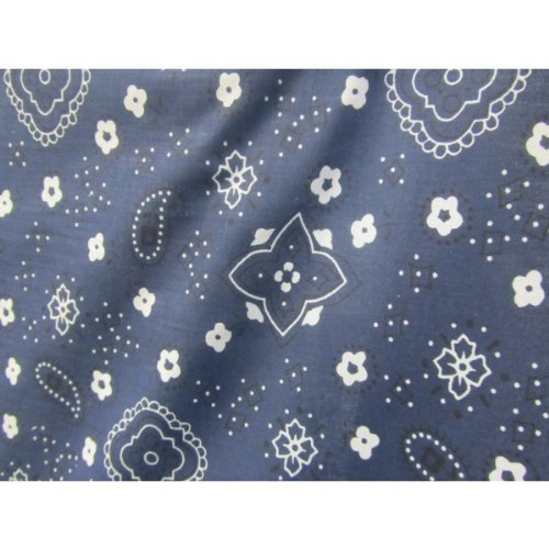 Navy Blue Bandana Print Poly Cotton Fabric 58 inches width sold by the yard ()
