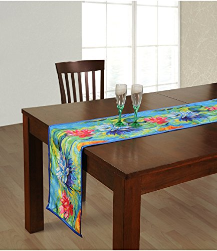 ShalinIndia Digitally Printed Blue Lotus flowered Reversible Table Runner - 13