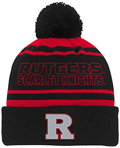NCAA Rutgers Scarlet Knights Youth Boys Reflective Cuff Knit Hat w/Pom, Red, Youth One (Scarlet Knit Hat)