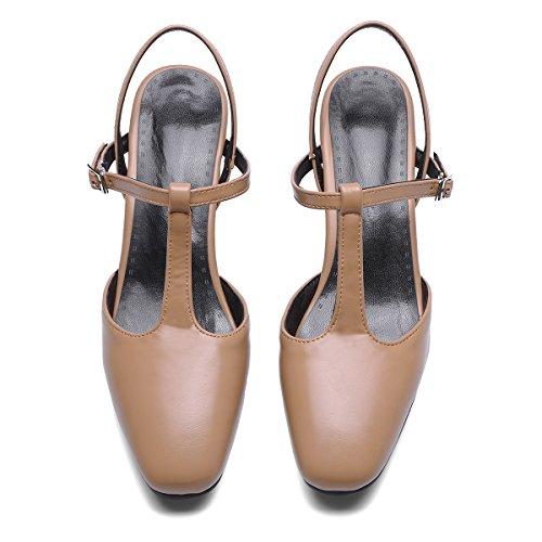 Abricot Bride Cheville Slingback Boucle Talon Escarpin Femme YE Laniere Bloc T Kitten Heels Chaussure en wPOvgqO6