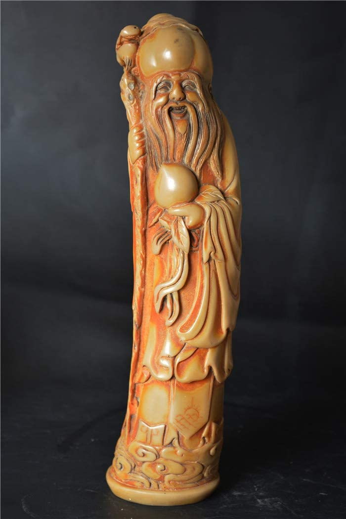 Amazon Com Tibetan Buddhism Old Antique Yak Bone Carved The God Of Longevity Happy Smile Buddha Statue Chinese China Craft Decorative Real Sculpture Amulet Ivory Color Talisman Old Nepal Natural Xizang Protective