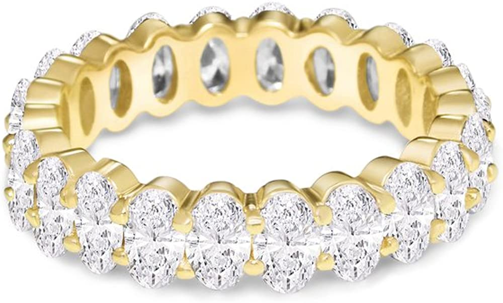 NYC Sterling Women's .925 Silver Cubic Zirconia 5x3mm Oval-Cut Eternity Band Ring