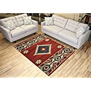 "Nevita Collection Southwestern Native American Design Area Rug Rugs Geometric (Orange (Terra) Blue Beige Red, 53"" x 71"")"
