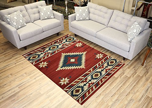(Nevita Collection Southwestern Native American Design Area Rug Rugs Geometric (Orange (Terra) Blue Beige Red, 5'3