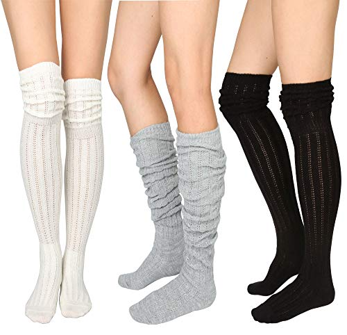 STYLEGAGA Winter Slouch Top Over The Knee High Knit Boot Socks (One Size:XS to M, Slouch Top_3Pair) (Over The Knee Boots That Stay Up)