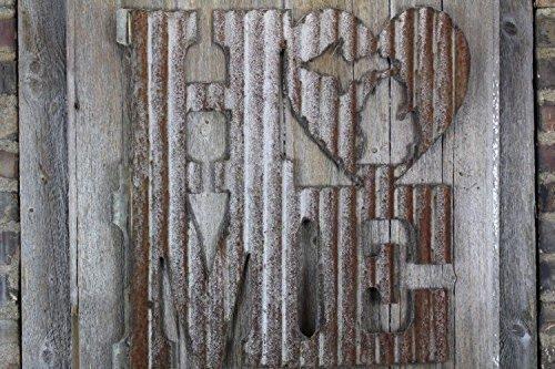 Rusty Tin Home w/ State Cutout, Home Decor, Initials, rustic wedding decor