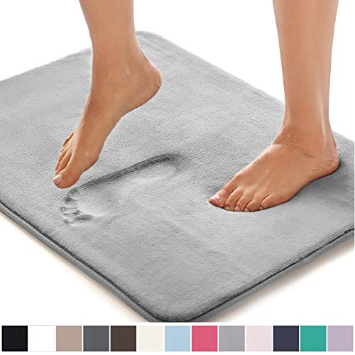 GORILLA GRIP Original Thick Memory Foam Bath Rug, 30x20, Cushioned Soft Floor Mats, Absorbent Premium Bathroom Mat Rugs Rugs, Machine Washable, Luxury Plush Comfortable Carpet for Bath Room, Dark Gray (Mohawk Home Memory Foam Bath Rug)