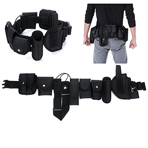 YAHILL Law Enforcement Utility Duty Tactical Belt, Security Military Police Gear Heavy Duty Belt Nylon Combat Officer Equipment with Pouches Holster Gear, Black