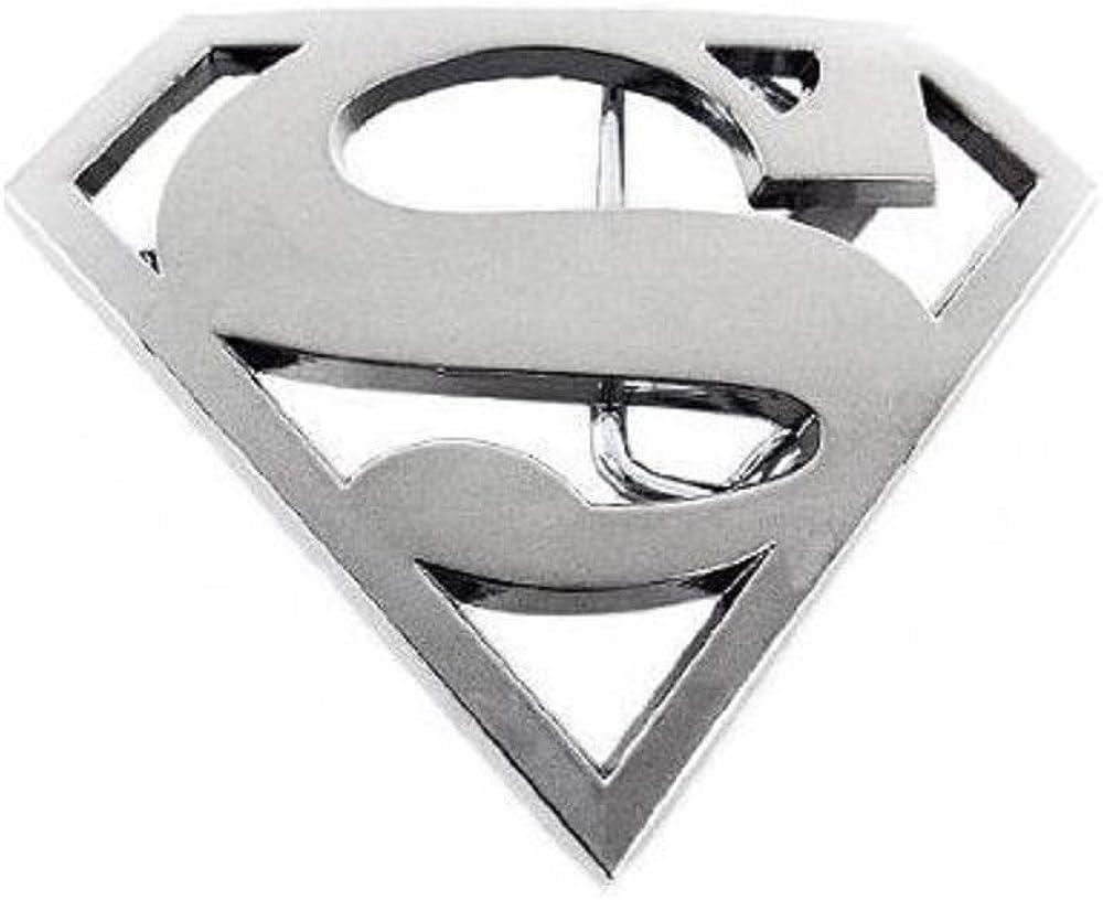 SUPER HERO SUPER MAN S CHROME BELT BUCKLE DC SUPERMAN SNAP BELT JUSTICE LEAGUE