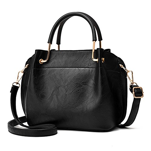 Nevenka PU Leather Women Top Handbags Satchel Purse Crossbody Bag with 3 layers (Pure Black) (Leather Purse Top Handle)