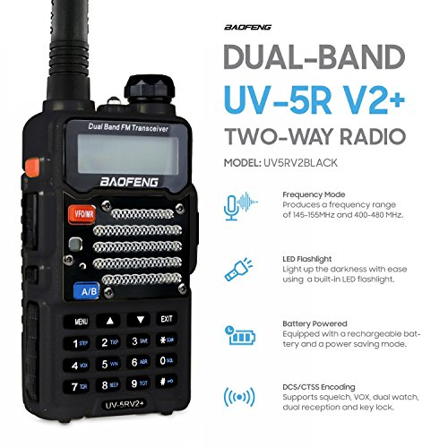 Baofeng Black UV-5R V2+ Plus (USA Warranty) Dual-Band 145-155/400-480 MHz FM Ham Two-way Radio, Improved Stronger Case, Enhanced Features by Baofeng Radio US (Image #2)