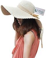 Women Large Wide Brim Floppy Beach Sun Visor Shade Straw Hat Cap Beige