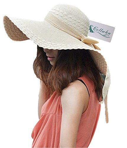 Women Large Wide Brim Floppy Beach Sun Visor Shade Straw Hat Cap Beige