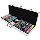 600ct Showdown Poker Chip Set in Aluminum Carry Case, 13.5-gram Heavyweight Clay Composite by Claysmith Gaming