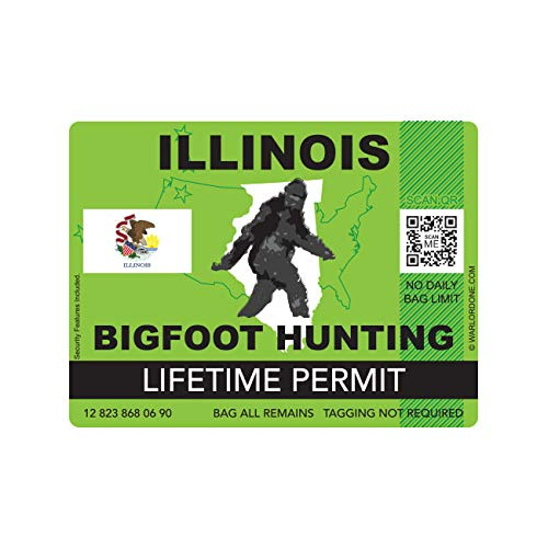 fagraphix Illinois Bigfoot Hunting Permit Sticker Die Cut Decal Sasquatch Lifetime FA Vinyl - 4.00 Wide