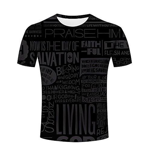 Men Black Series Fighting/Geometric/Animal/Plant 3d Printed Casual Summer Short Sleeve Novelty T-shirts 2XL ()
