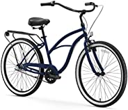 sixthreezero Around The Block Women's Cruiser Bike with Rear Rack, 26 Inches, 3-Speed,