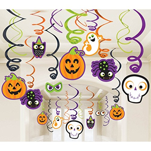 amscan Family Friendly Halloween Creepy Creatures Swirl Ceiling Hanging Decoration, Foil, Pack of 30 Decorations -