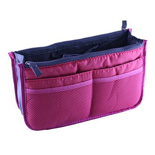 Large Purse Organizer Insert Handbag Pouch Tidy & Neat (Ships From USA) (Rose) (Travel Organizer Purse Small Mini)