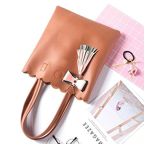 ZCM Lady New Kleine Frische Mode Schulter Handtasche Mädchen Casual Bag College Buch Tasche Bogen Quaste Tasche (vier Farbe Optional) Armeegrün