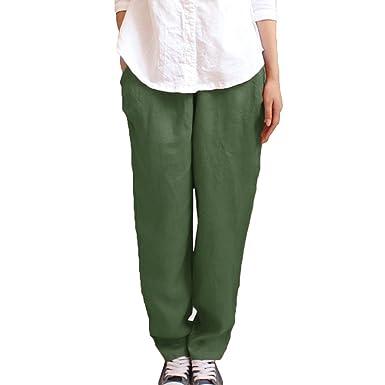 Hibote Pantalon en Lin pour Femme élastiqué Taille Womens Casual Pantalon d été  Pantalons Pleine 0b5b9476d8c0