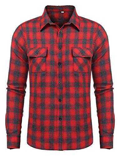 Men's Flannel Long Sleeved Button-Up Plaid 100% Cotton Plaid Casual Shirt Red M ()