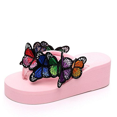 GESDY Womens High Heel Butterfly Platform Wedge Sandals Bohemian Beach Flip Flops Thongs Slippers Pink