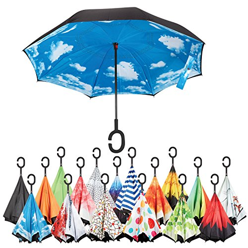 Sharpty Inverted Umbrella, Umbrella Windproof, Reverse Umbrella, Umbrellas for Women with UV Protection, Upside Down Umbrella With C-Shaped Handle (Blue sky) by Sharpty