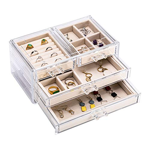 X L MAGNET Acrylic Jewelry Box with 4 Drawers