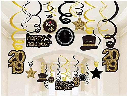 30Ct Happy New Years Eve Hanging Swirl Decorations, 2019 NYE Glitter Gold Black Decor, NY Theme Party Supplies Pack, Party Favors for Adult, Foil Home Decorating Kit by Kristin Paradise -