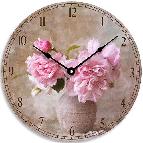 Vintage floral design 10 inch wall or kitchen clock. Pink flowers in a vase impressionist image.