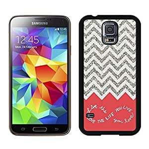 Cheap S5 Case Best Samsung Galaxy S5 Case Black Cover Design for You Colorful Chevron Pattern Live the Life You Love, Love the Life You Live