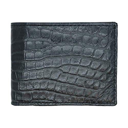 (Black Genuine Millennium Alligator Bifold Wallet - RFID Blocking - American Factory Direct - Small Tile - Made in USA by Real Leather Creations FBA1158)