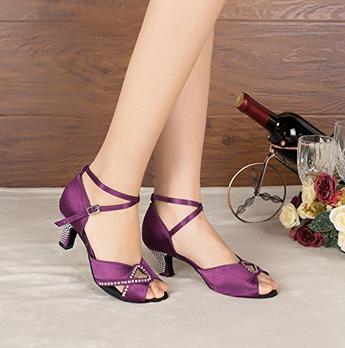 Low Wedding MINITOO Kitten TH158 4 UK Latin Sandals Ballroom Heel Purple Dance 5 Ladies Taogo Satin qwF0wxt