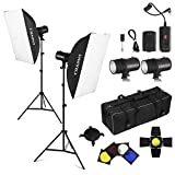 CRAPHY 440W Professional Studio Flash Strobe Photography Light Lighting Kit 8CH RT Monolight 50cmx65cm Softbox Strobe Set with 4xGels (Translucent,Blue,Red,Yellow) Carrying Bag for Portrait