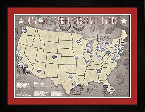 Benthar Dunthat Professional Baseball Parks Teams Framed Tracking Map, 24x18
