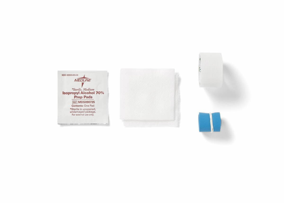 Medline Industries DYND74021 IV Start Kits with Alcohol and PVP (Pack of 100)
