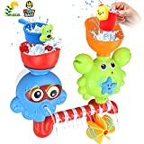 Bath Toys for Toddlers Babies Kids 1 2 3 Year Old Boys Girls Bathtub Toys Bath Wall Toy Fill Flow and Spin Waterfall Station with Strong Suction Cups Bath Toys Non Toxic Bath Toy Gift Ideas