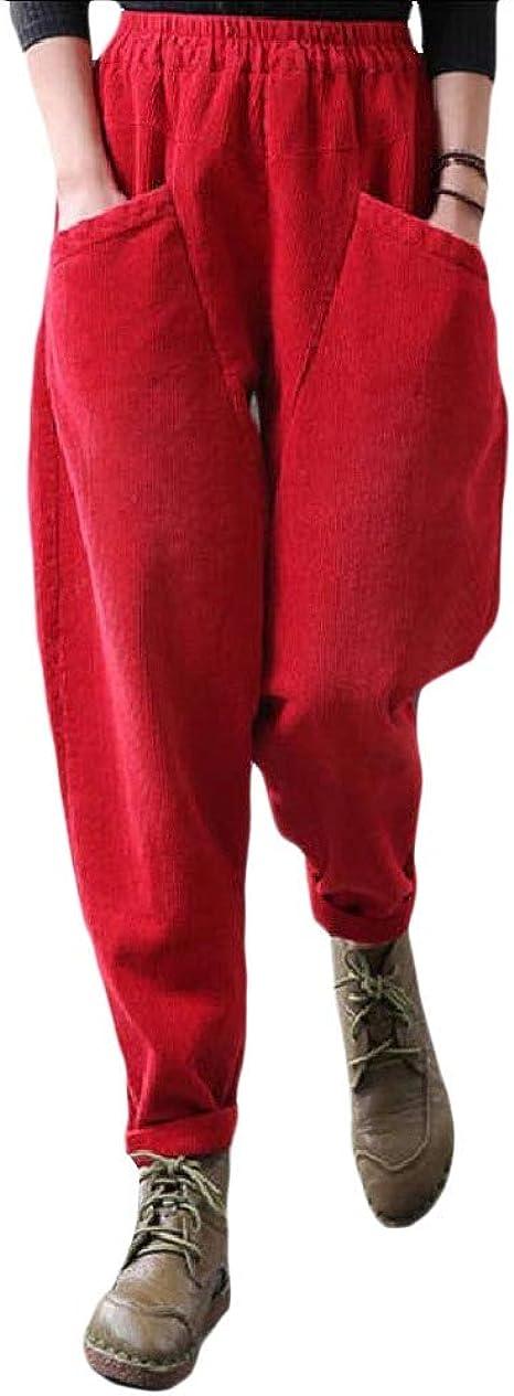 AngelSpace Women's Loose Fit Elastic Waist Corduroy Casual Harem Pants Pants