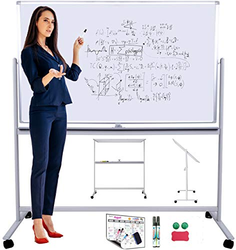 Mobile Whiteboard or Dry Erase Board, Rolling Whiteboard on Wheels with Stand 48in(W) x 32in(H) for Large, Small Office, School Presentations. Portable Double Sided Magnetic Freestanding Whiteboard