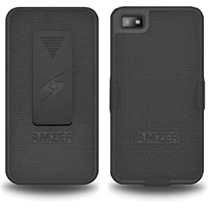 Cerhinu Amzer AMZ95376 Shellster Shell Holster Combo Case Cover for BlackBerry Z10 - 1 Pack - Retail Packaging - Black...