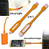 AmaziPro8 2-in-1 Mini USB LED Light + iPhone Lightning Cable. LED USB Lamp light Charge Sync Cable connect to PC, Laptop, Powerbank. Reading Lamp Light Perfect for indoor or Outdoor use (ORANGE)