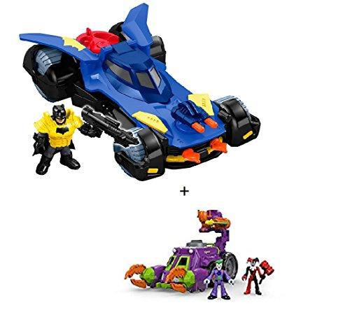 BUNDLE Imaginext DC Super Friends Batmobile + Imaginext The Joker & Harley Quinn Battle Vehicule