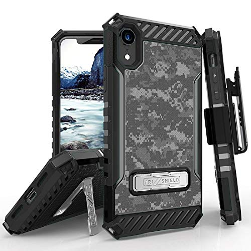 (Beyond Cell Tri Shield Military Grade Shock Proof [MIL-STD 810G-516.6] Kickstand Case Cover with 360 Degree Rotating Swivel Belt Clip Holster for Apple iPhone XR - Digital Pixel Camo)