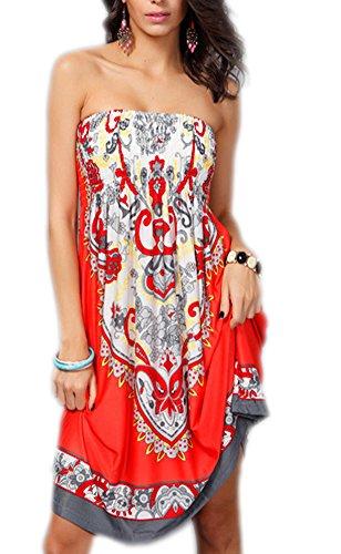 Womens Bohemian Strapless Dress Hot Summer Beach Sundress Casual Tee Dress (Orange 5, One Size)